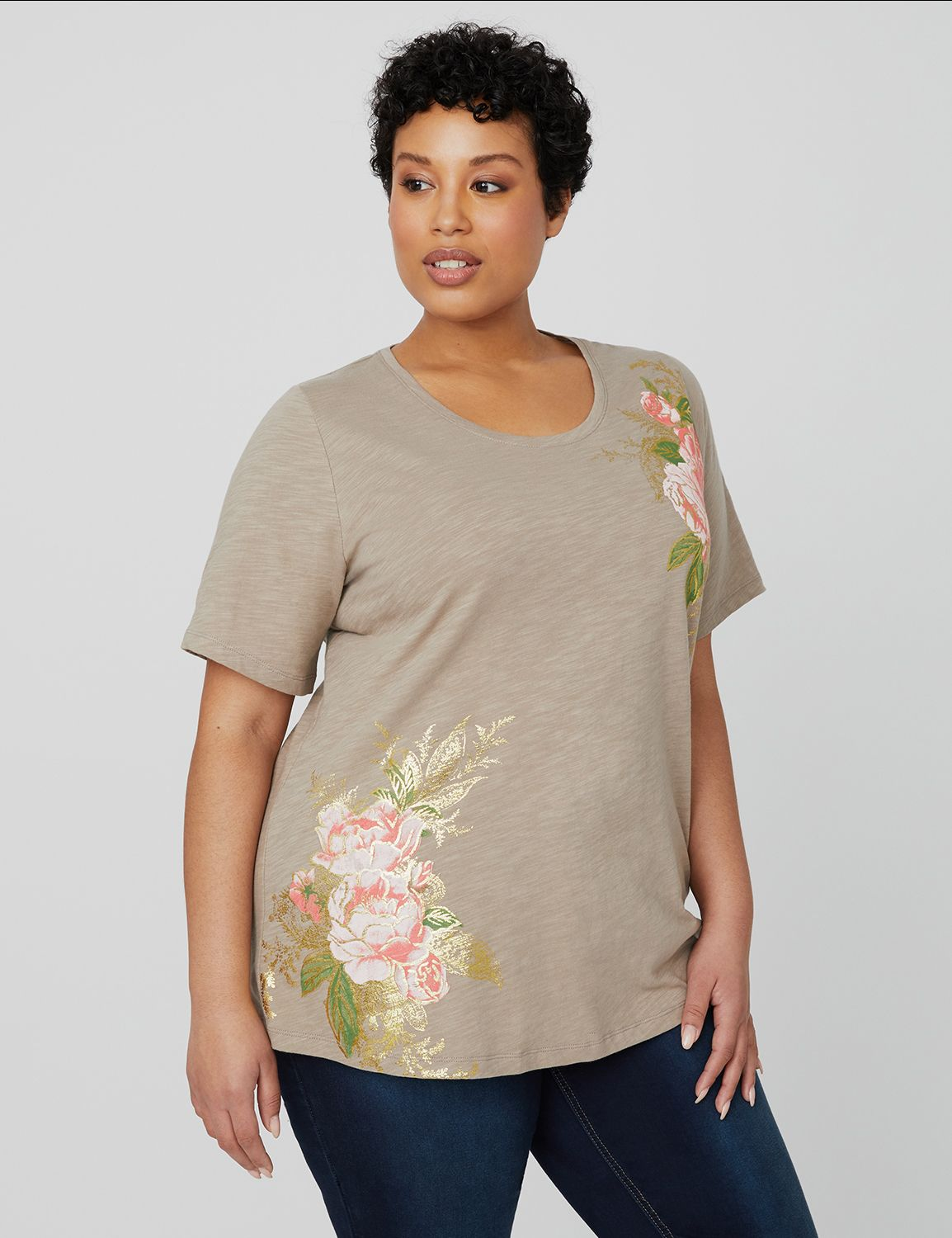 Tranquil Floral Tee 1088365 FLORAL SCREEN MP-300105269
