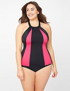 High-Neck Colorblock Swim Tank