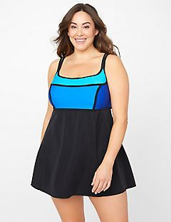 Colorblock Tummy Control Swimdress