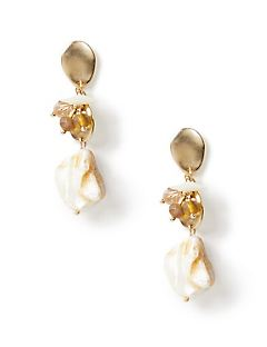 Honey Seashell Drop Earrings