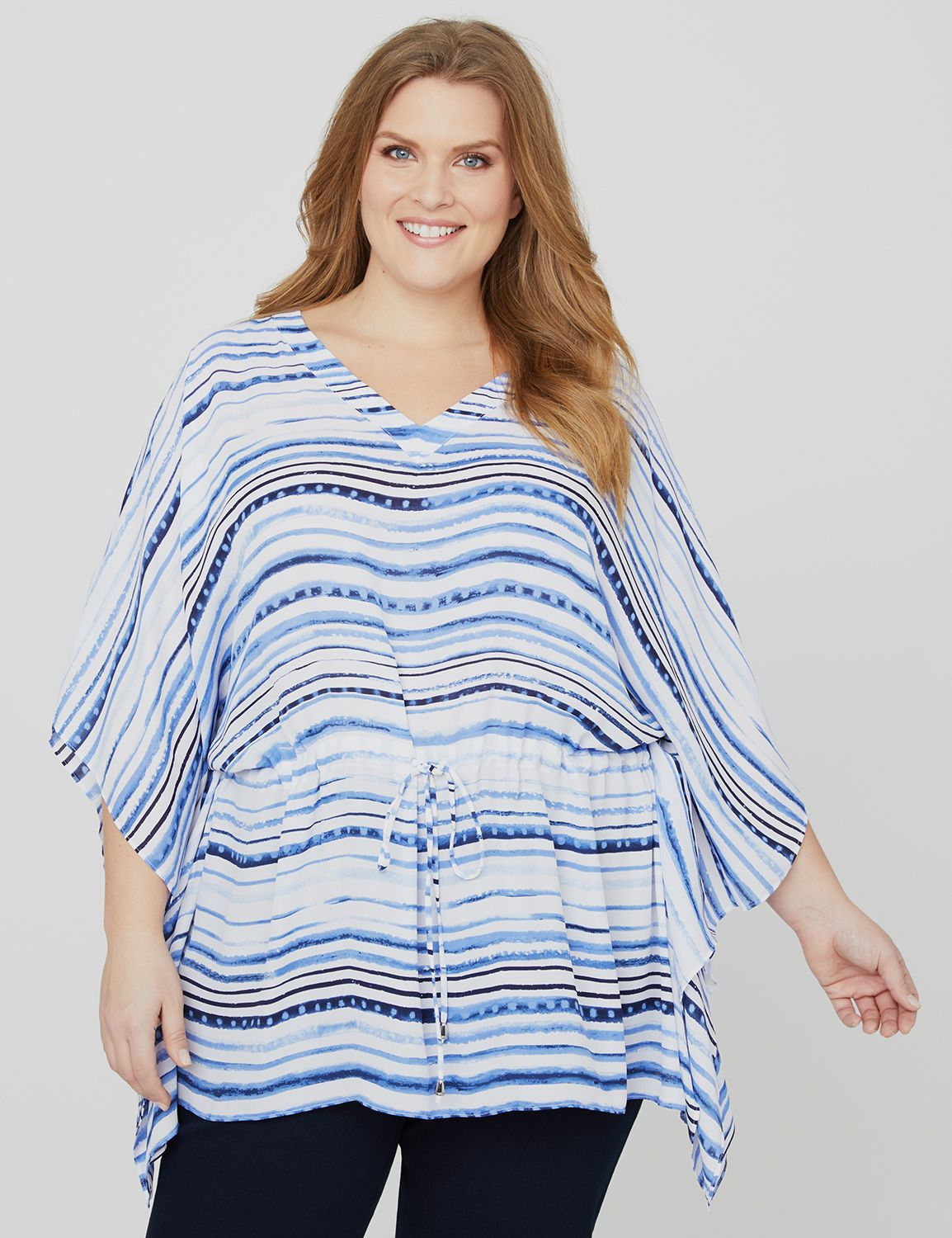 Coastal Breeze Poncho Border Stripe Poncho MP-300106636
