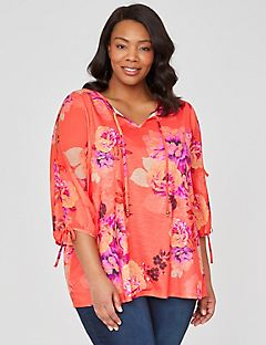 Floral Burst Peasant Top