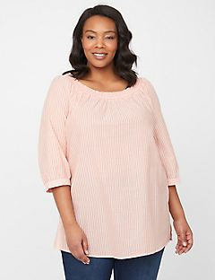 Shimmer Striped Peasant Top