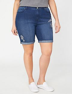 Cuffed Denim Short with Embroidery