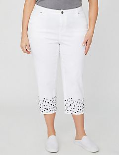 Twill Capri With Star Embroidery