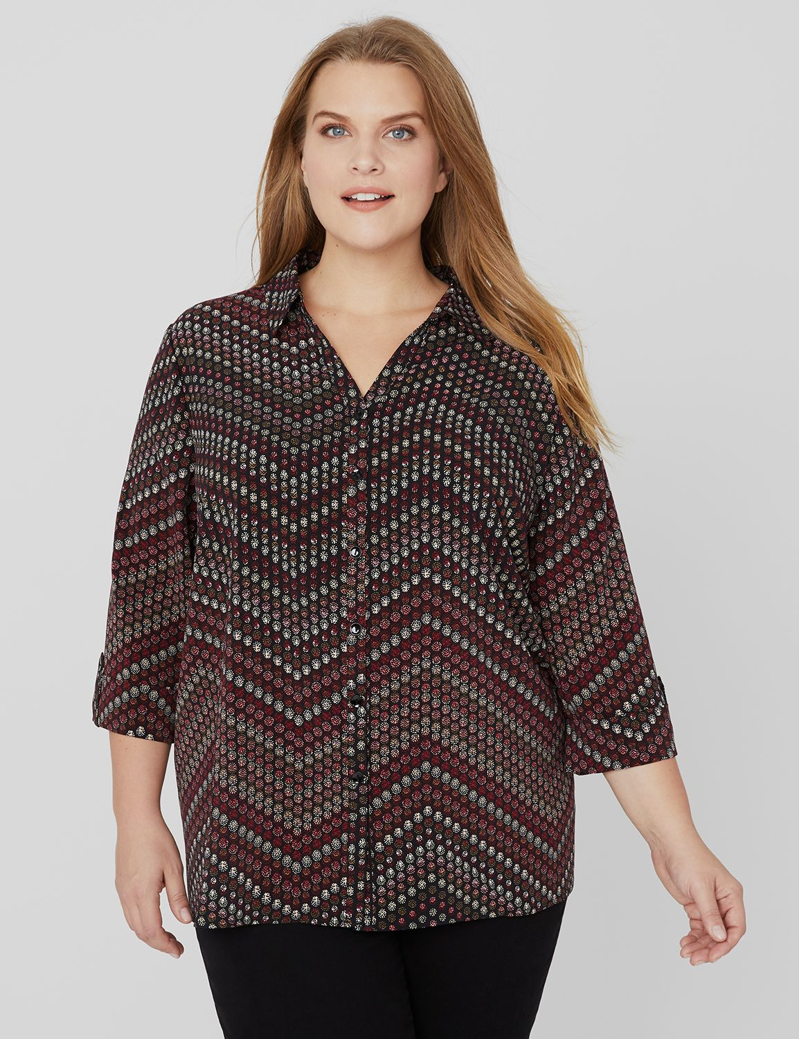 Allover Print Buttonfront 3/4 Slv Collared CDC Blouse MP-300094040