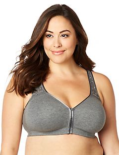 Solid Front-Close No-Wire Cotton Comfort Bra