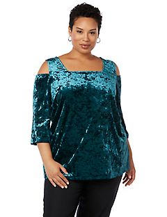 Velvet Dream Cold-Shoulder Top