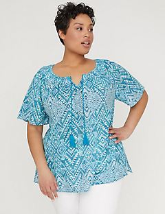 Printed Gauze Peasant Top