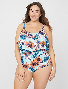 Ruffled Hibiscus Tummy Control Swimsuit