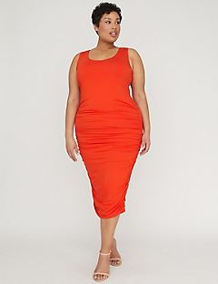 Curvy Collection Ruched Midi Dress