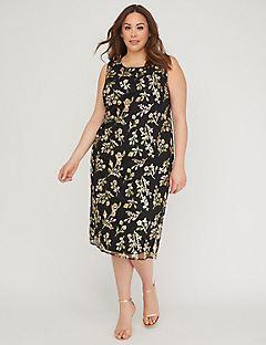 Botanical Stitch Chiffon Dress