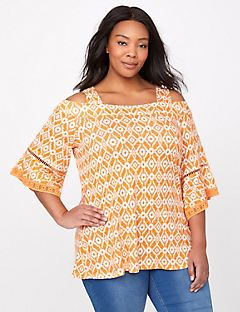 Auburn Twist Cold-Shoulder Top