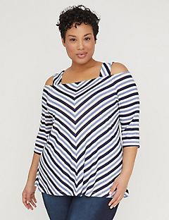 Chevron Cold-Shoulder Top