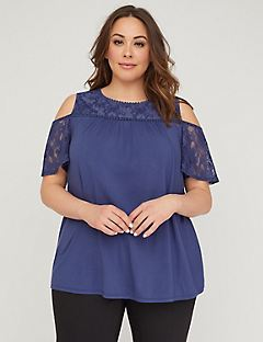 Indigo Lace Cold-Shoulder Top