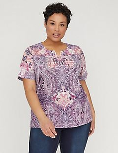 Embroidered Paisley Print Top