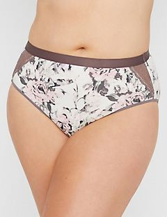 Rose Garden Cotton Hi-Cut Brief with Lace
