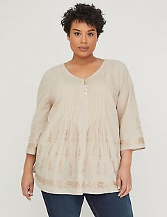 Sandy Pintuck Popover with Lurex Embroidery