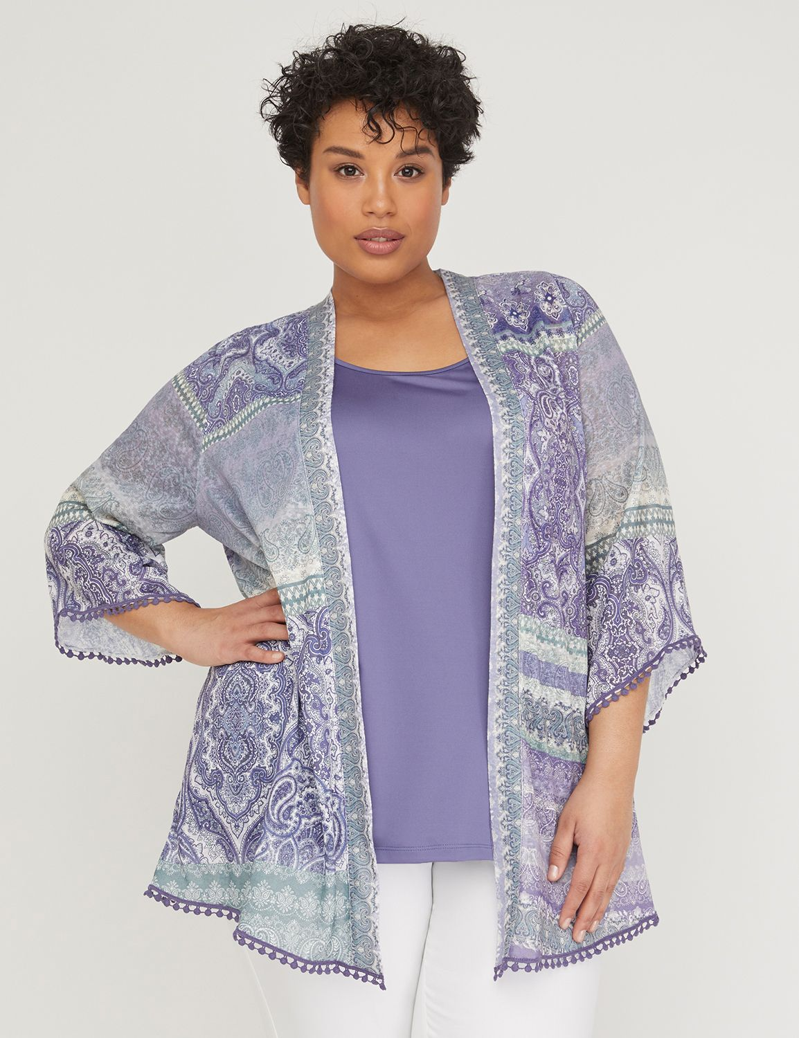 Lavender Paisley Cardigan with Embroidered Trim 300115503