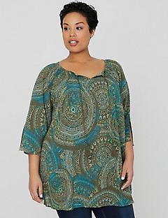 Peaceful Print Peasant Top