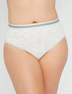 Script Print Cotton Hi-Cut Brief