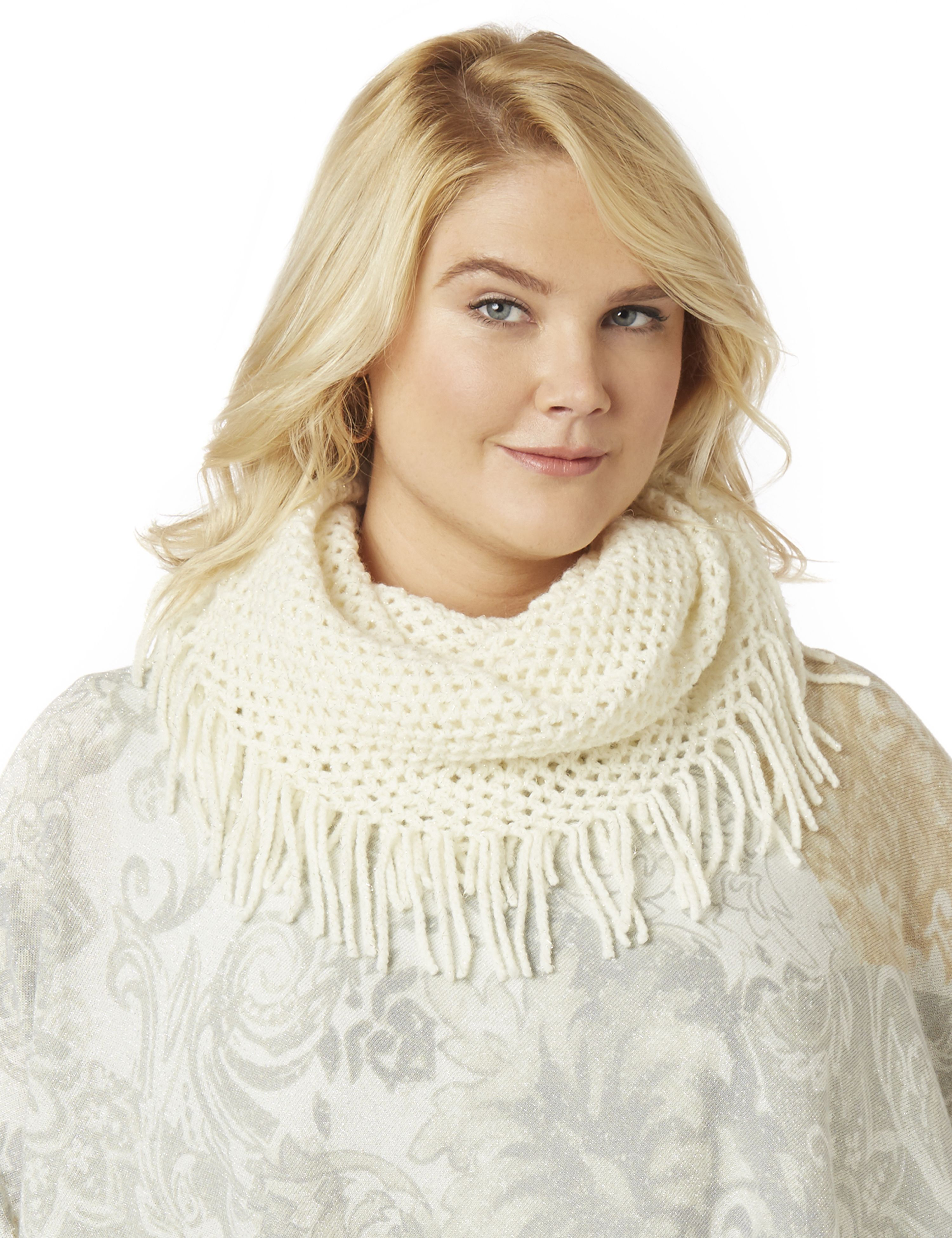 Metallic Touch Infinity Scarf AD Lurex Infinity w/ Fringe MP-300086476
