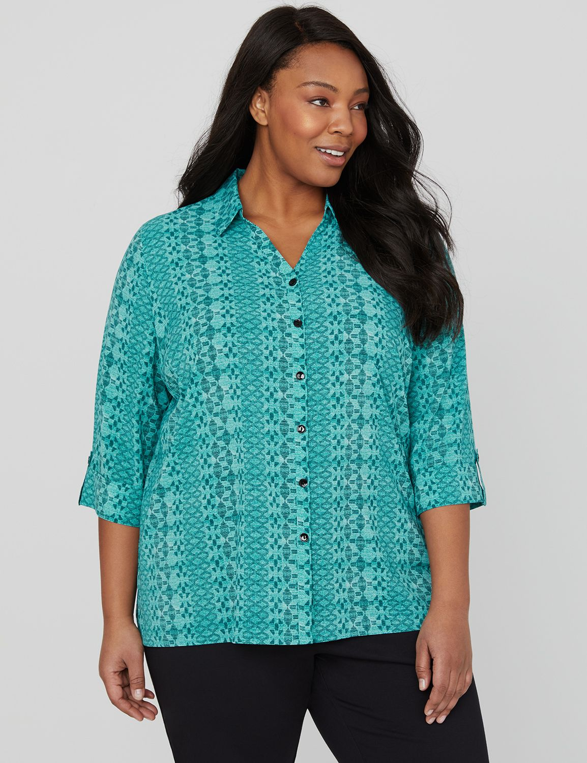 Maldives Buttonfront Shirt 3/4 Slv Collared CDC Blouse MP-300104916