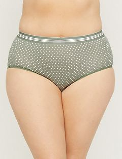 Printed Cotton Full Brief Panty with Striped Elastic