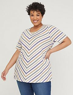 Mitered Shimmer Stripe Top