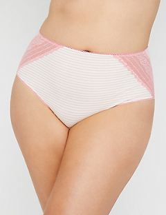 Cotton Hi-Cut Brief with Lace
