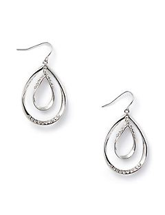 Rhinestone Double-Teardrop Earrings