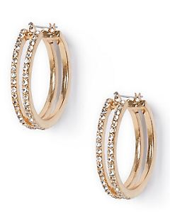 Rhinestone Double-Hoop Earrings