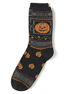 Halloween Pumpkin Lurex Crew Sock