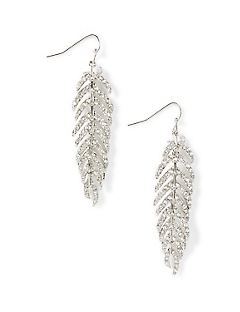 Feather Rhinestone Drop Earrings