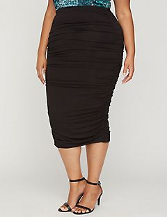 Curvy Collection Ruched Midi Skirt