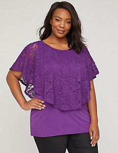 Evening Stroll Top with Embroidered Lace
