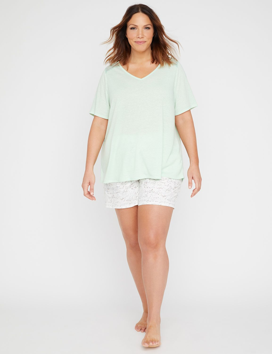 "A sleep tee in super-soft, jersey knit with sheer lace insets at each shoulder for a subtle touch of romance. V-neck. Short sleeves. Pairs beautifully with out Script Print Sleep Short. Item Number #314968, 85% Polyester/15% Linen, Machine Wash, Imported Plus Size Sleepwear, Length: 29"" , Plus Sizes 0X-5X, Catherines Plus Sizes"