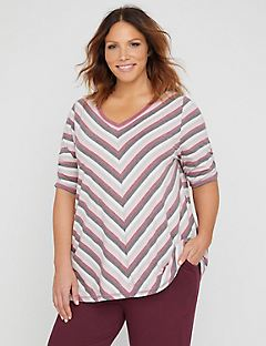 Mitered Stripe Tunic Tee
