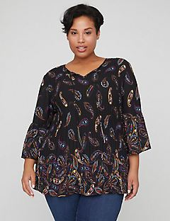 Shadow Paisley Pleated Top