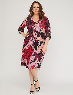 Paisley A-Line Dress with Lace
