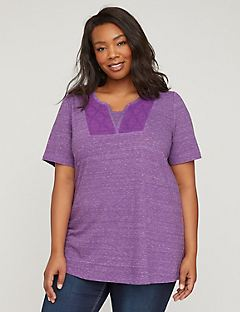 Heather & Lace Split Neck Tee
