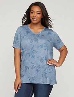 Botanical Lace V-Neck Tee