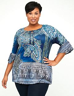 Paisley Sparkle Peasant Top