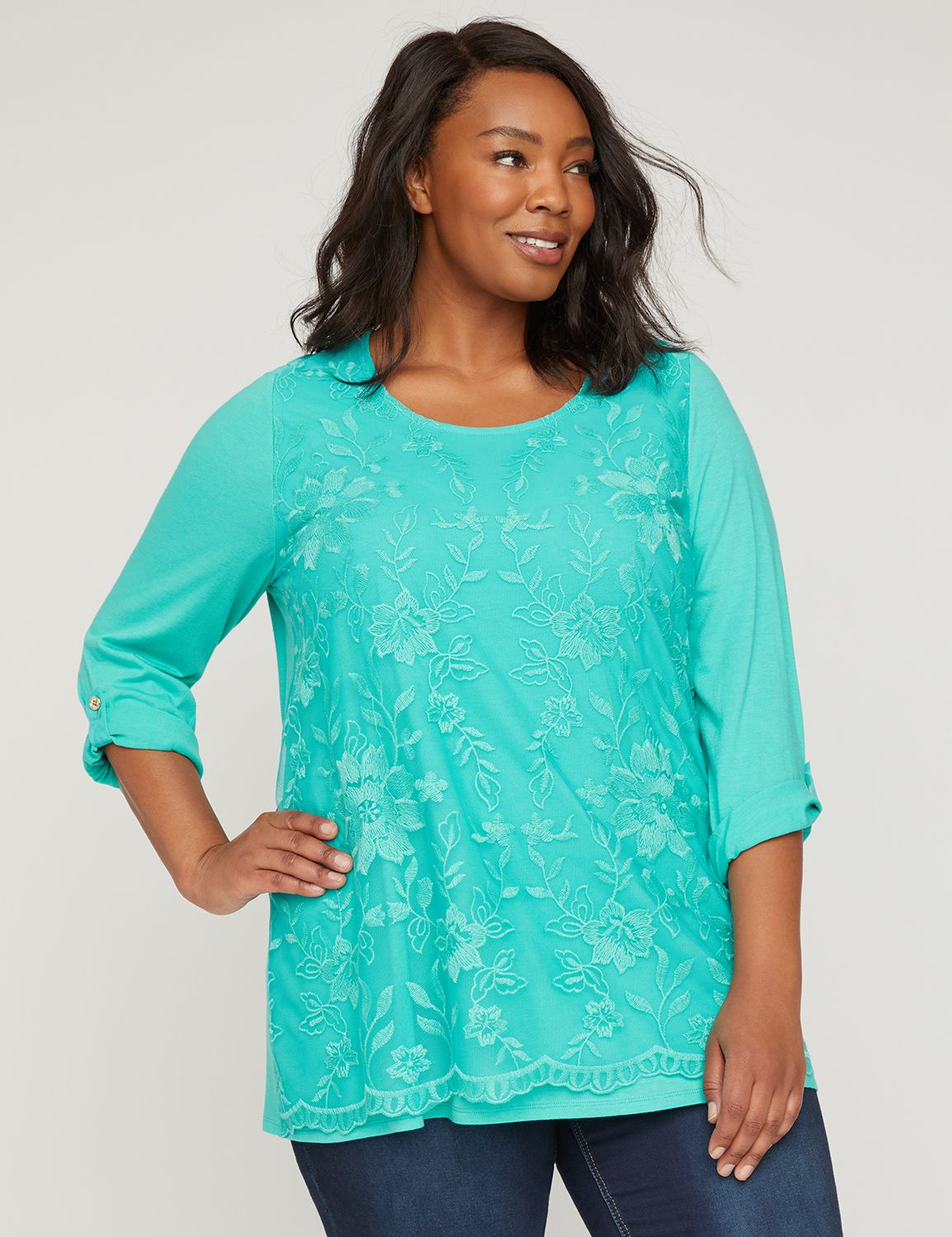 "A lightweight top in our favorite jersey knit featuring a mesh overlay along the front that's beautifully enhanced with embroidered lace. Scoop neck. Three-quarter sleeves with roll-tab cuffs. Item Number #315089, 100% Polyester, Machine Wash, Imported Plus Size Top, Length: 31"", Petite Length: 29"" , Plus Sizes 0X-5X, Petite Plus Sizes 0XWP-3XWP, Catherines Plus Sizes"