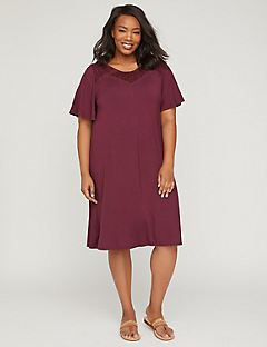 Forever Garnet A-Line Dress with Lace