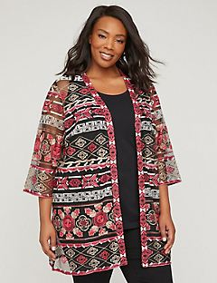 Breezy Waters Cardigan with Embroidered Mesh