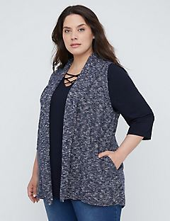 Midnight Marled Vest with Pockets