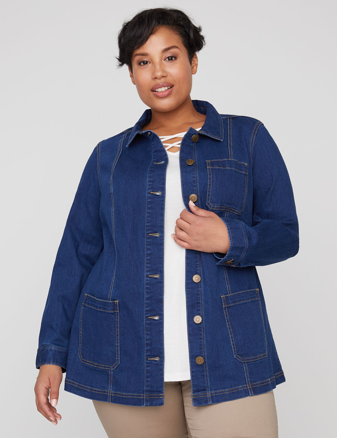 "An effortless layer, this lightweight jean jacket offers versatile style and ultimate ease. Classic collar and buttonfront design. Longer length for added coverage and comfort. Long sleeve with single-button closure at cuffs. Front pockets. Back vent. Item Number #315414, 56% Cotton/14% Rayon/28% Polyester/2% Spandex, Machine Wash, Imported Plus Size Top Plus Size Denim, Length: 31"" , Plus Sizes 0X-5X, Catherines Plus Sizes"
