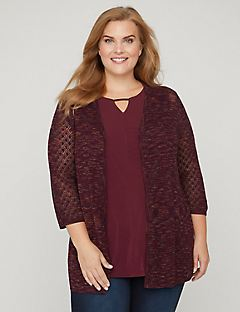 Pointelle Spacedye Cardigan