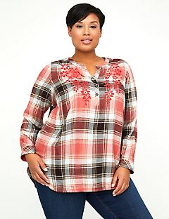 Embroidered Plaid Popover
